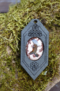 Fire Opal 05 Hexagon Portal Space Cruiser Pendant
