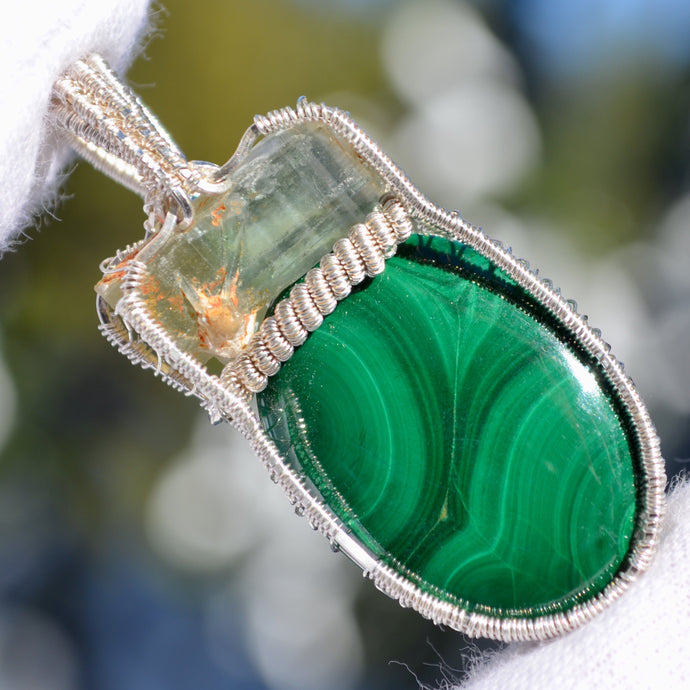 Namibian banded Aquamarine and Malachite Wire Wrap in Sterling Silver
