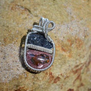 Uruguay Black Amethyst and Fire Opal 2 Wire Wrap in Sterling Silver