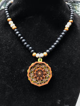 "Hand Beaded Wood Necklace (15"" & 28"")"