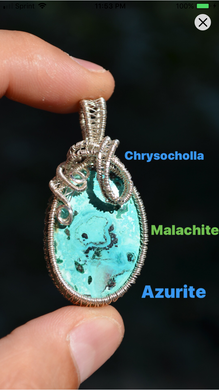 Chrysocholla Malachite Azurite Wire Wrap in Sterling Silver