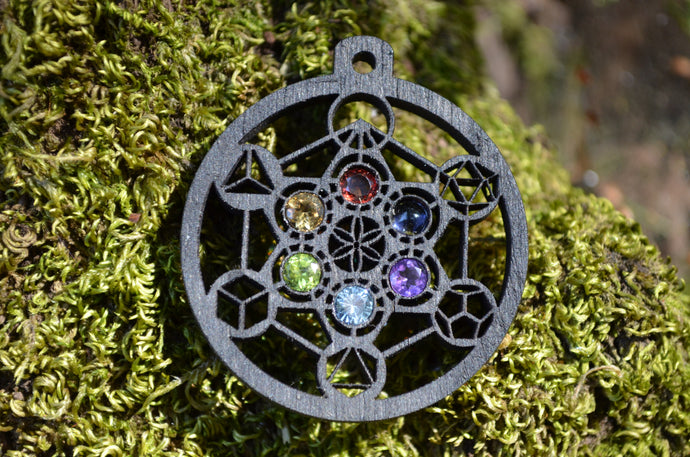 Metatron's Cube Platonic Solids Color Wheel Gemlord Space Cruiser Pendant