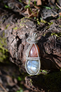 Confetti Sunstone and Labradorite 1 Wire Wrap in Sterling Silver