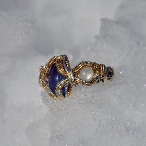 5x Tanzanite 2x Rainbow Moonstone Ring size 8.5
