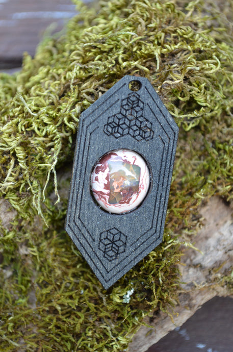Fire Opal 11 Hexagon Portal Space Cruiser Pendant