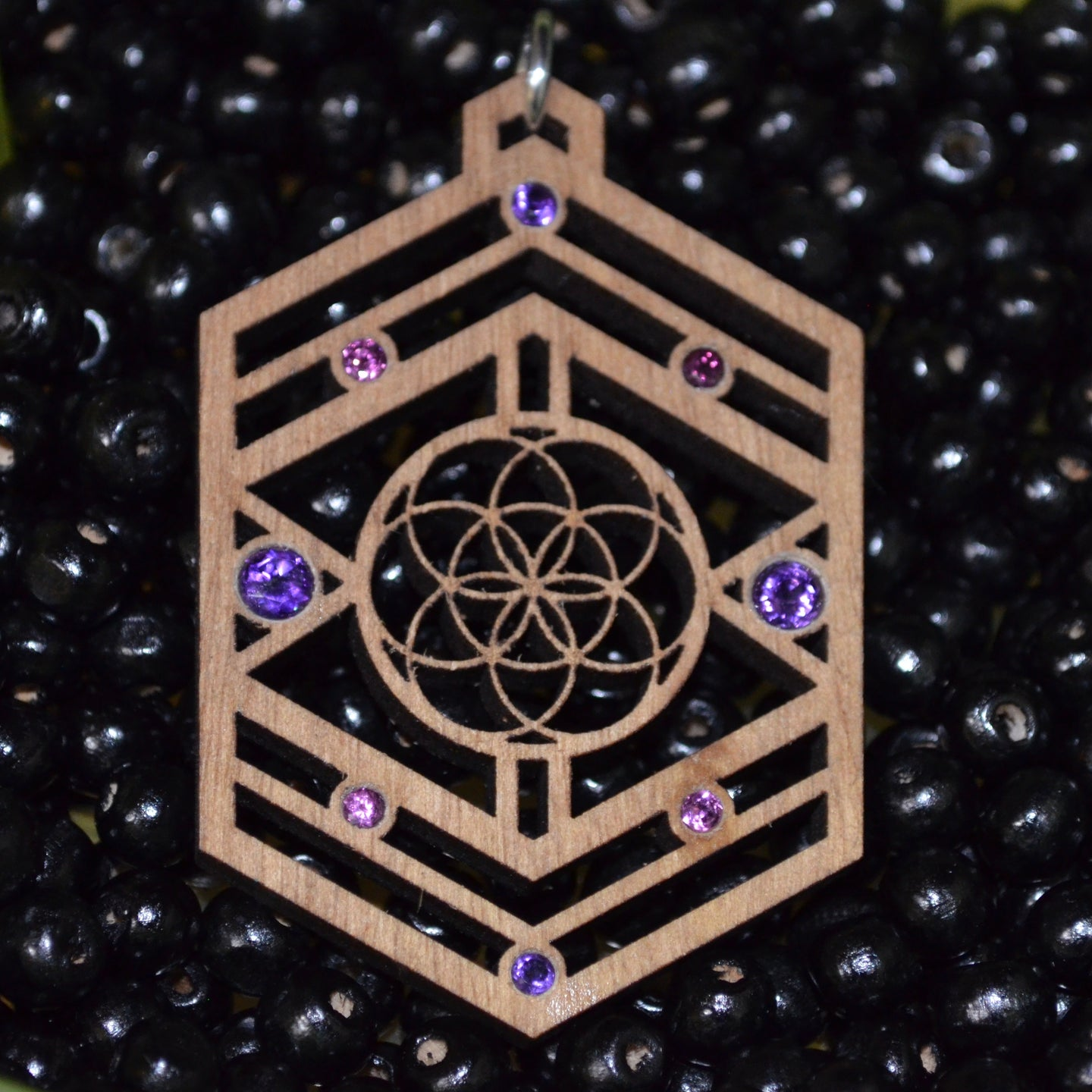 ***Sold Out*** Seed Shield 4x Amethyst 4x Rhodolite Garnet Gemlord Space Cruiser Pendant