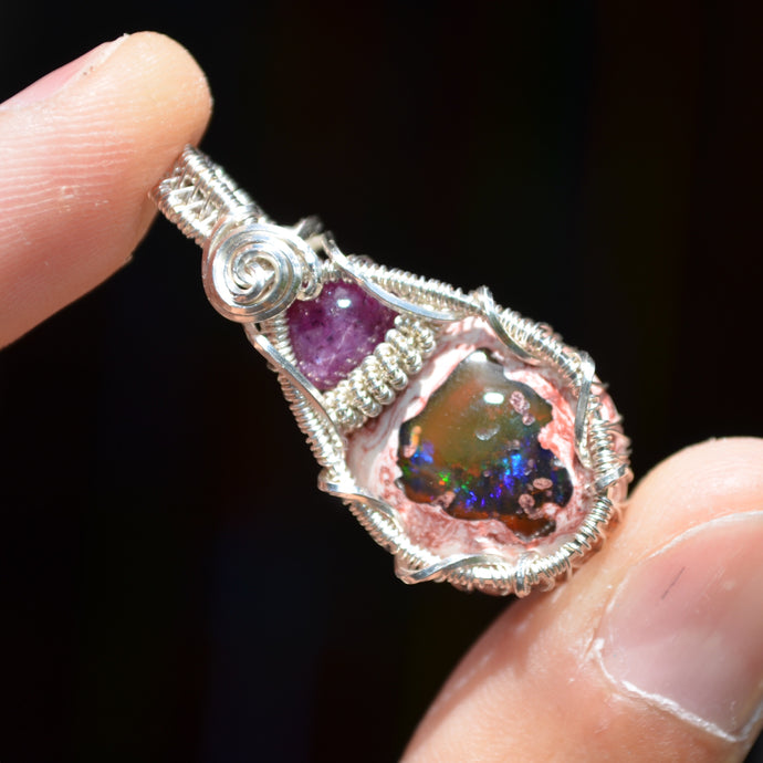 Fire Opal and Star Ruby Wire Wrap in Sterling Silver