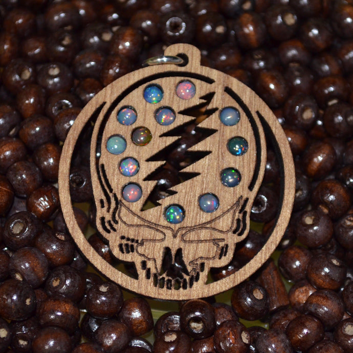 13x Fire Opal Grateful Dead Head Gemlord Space Cruiser Pendant