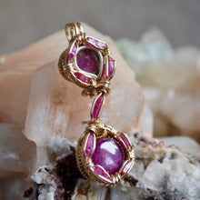 Ruza - Star Ruby Watermelon Tourmaline and 9 Terminated Rubies Wire Wrap Pendant