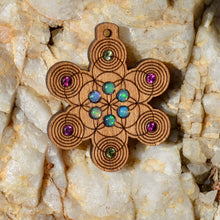 Seed of Life Pulse 6x Fire Opal 4x Rhodolite Garnet 2x Peridot Gemlord Space Cruiser Pendant