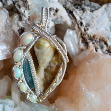 Oceana - Spiralite (Agatized Sea Shell) Aquamarine and 5 Fire Opal Wire Wrap Pendant