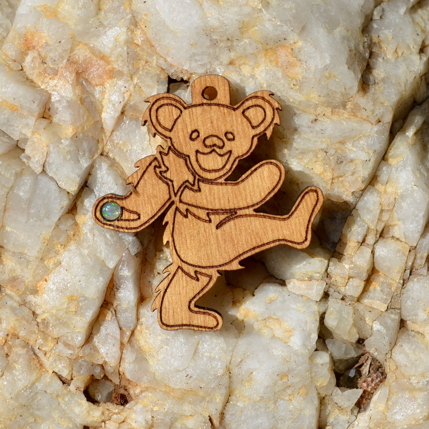 Grateful Dead Bear 5 Fire Opal Pendant