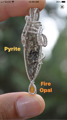 Pyrite and Fire Opal Wire Wrap in Sterling Silver