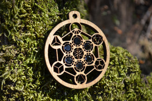 Metatron's Cube Platonic Solids Green Tourmaline Gemlord Space Cruiser Pendant