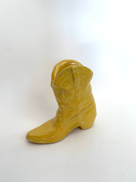 Vintage Yellow Boot Vase