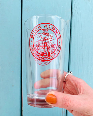 Buck Atom Pint Glass (1 or Set of 4)