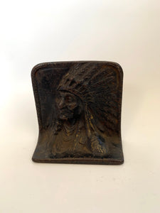 Native American Iron Book End / Door Stopper