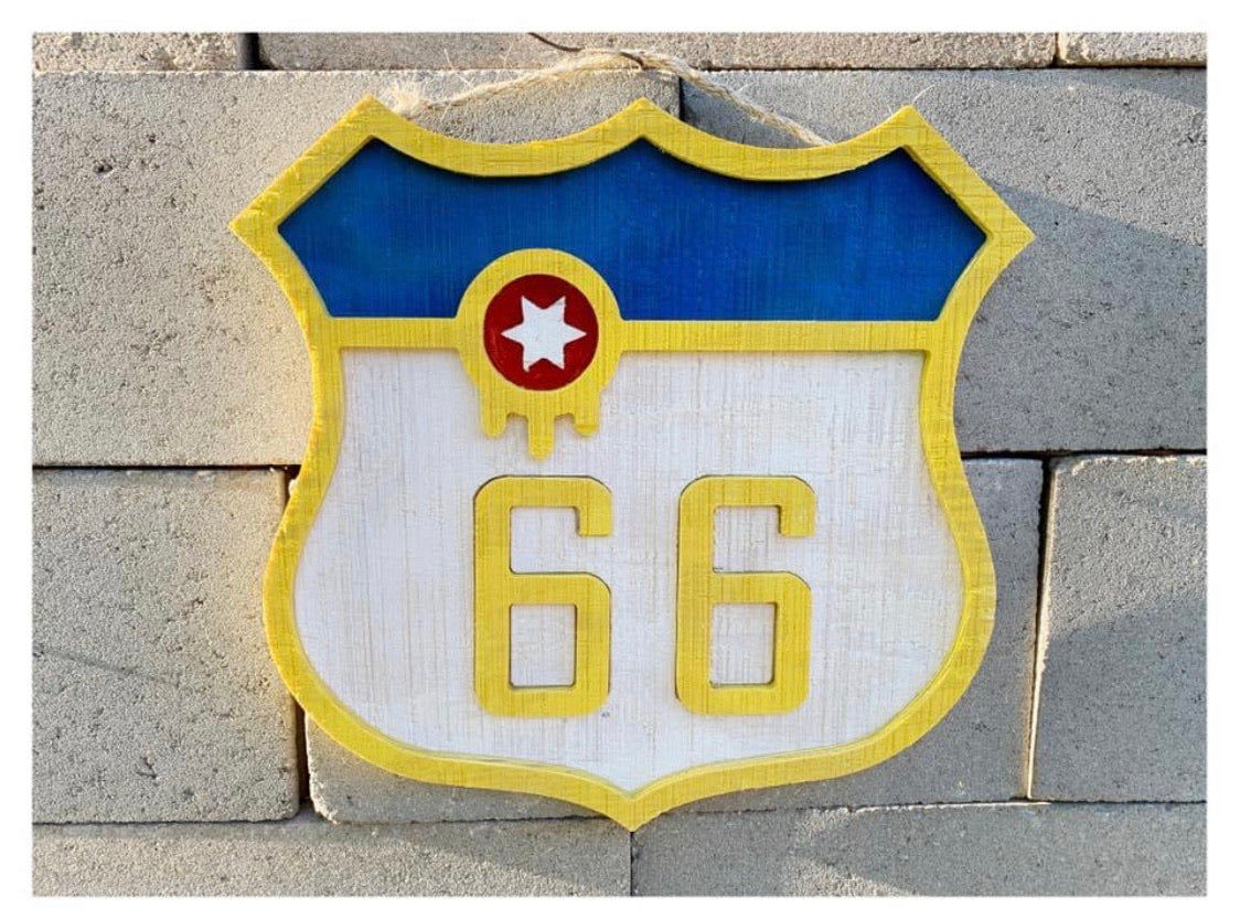 Tulsa Flag Route 66 Shield Art