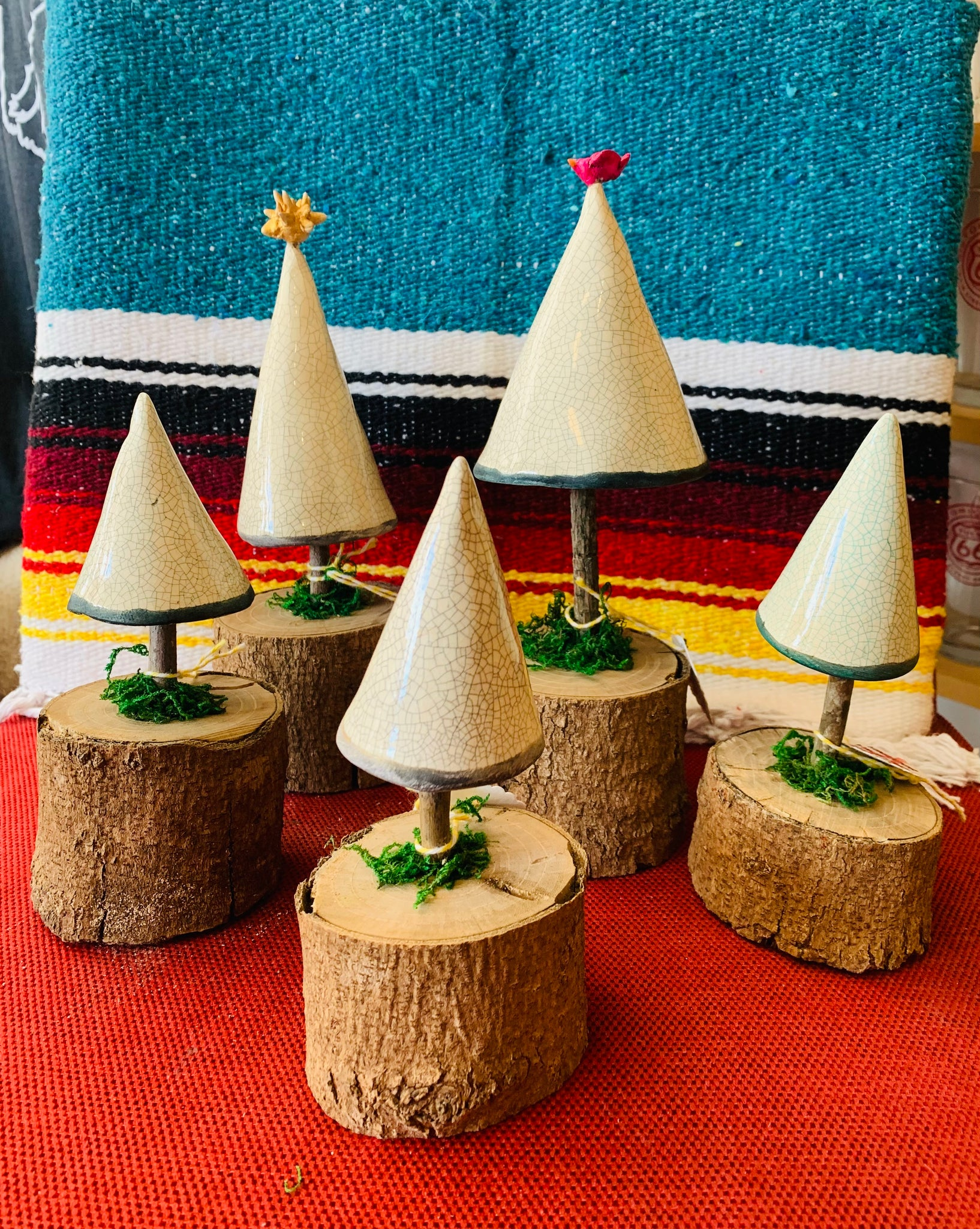 Tiny Trees on Wooden Base