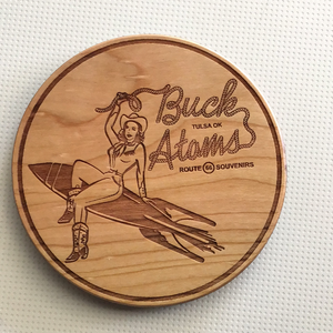 Buck Atom Pin Up coaster