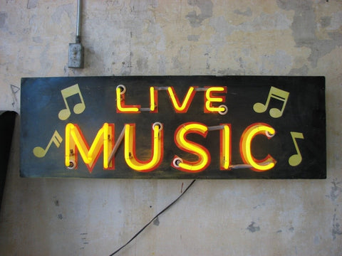 Live Music Neon Sign by Roadhouse Relics