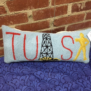 Tulsa Golden Driller Wool Pillow