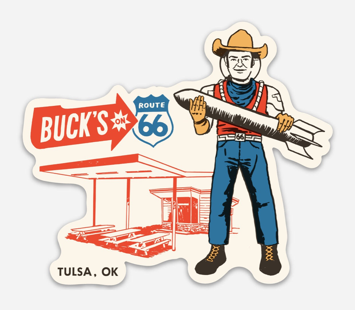 Buck Atom's Muffler Man Sticker