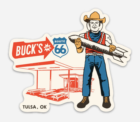 Buck Atom's Muffler Man Sticker - Buck Atom's Cosmic Curios on 66