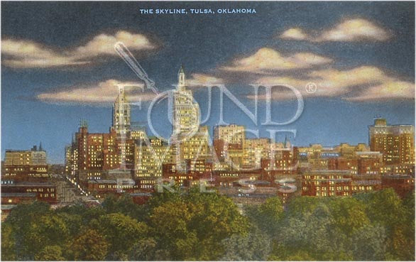 "Tulsa Skyline at Dusk Print 16"" x 20"""