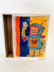 Star Heart Robot Cigar Box