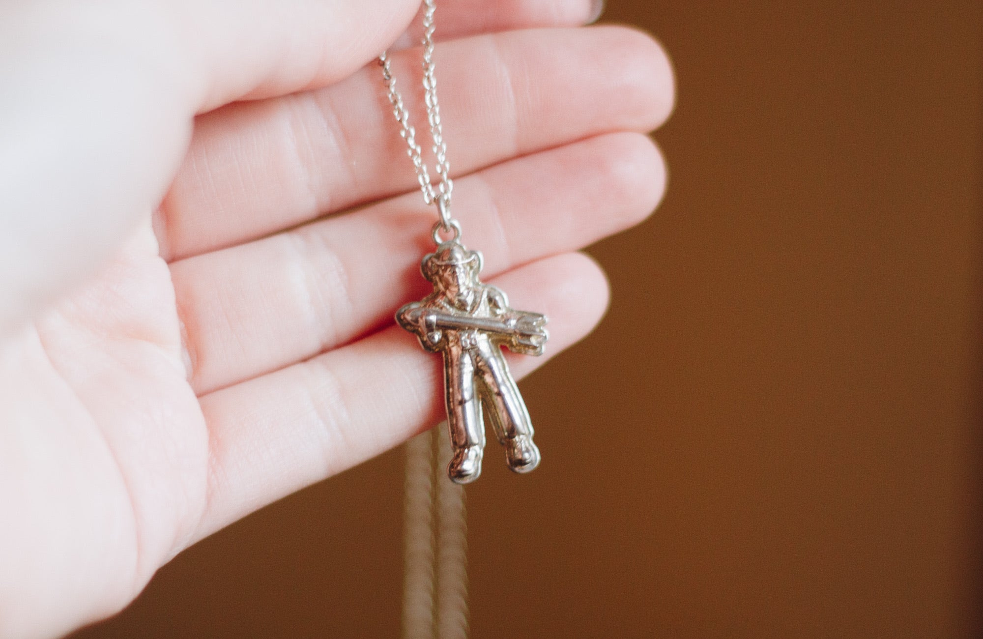Sterling Silver Buck Atom Charm with Chain