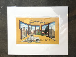 Greetings from Tulsa print yellow 16x20 - Buck Atom's Cosmic Curios on 66