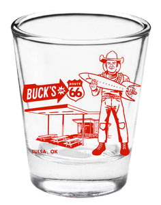 Buck Atom Muffler Man Shot Glass
