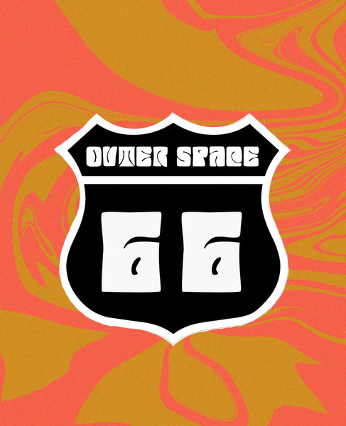 Outer Space Route 66 Sticker
