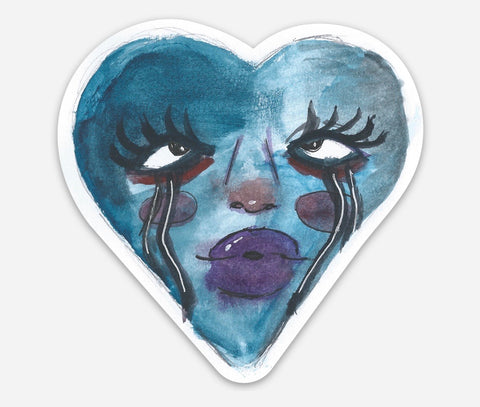Blue Lips Sticker by Eva Babcock