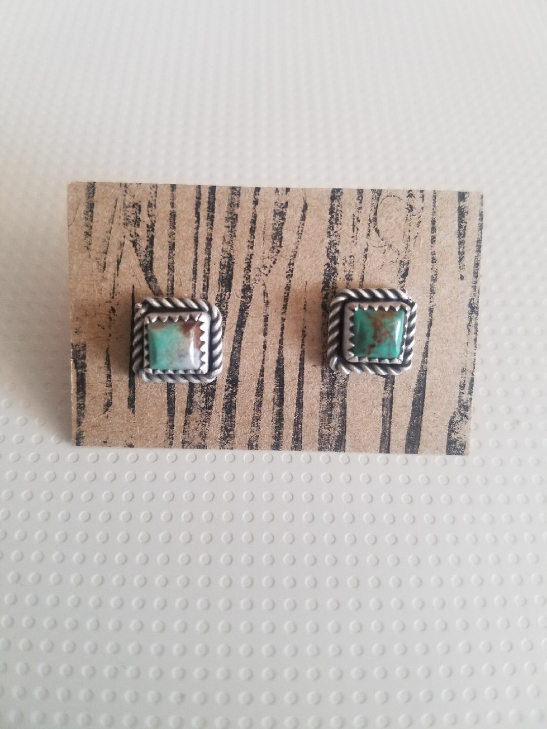 Swaying Grass Silver Mini Square Studs