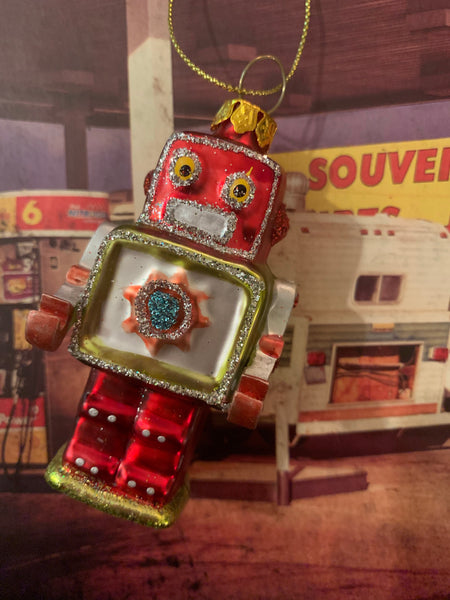 Robot Glass Ornaments 3""