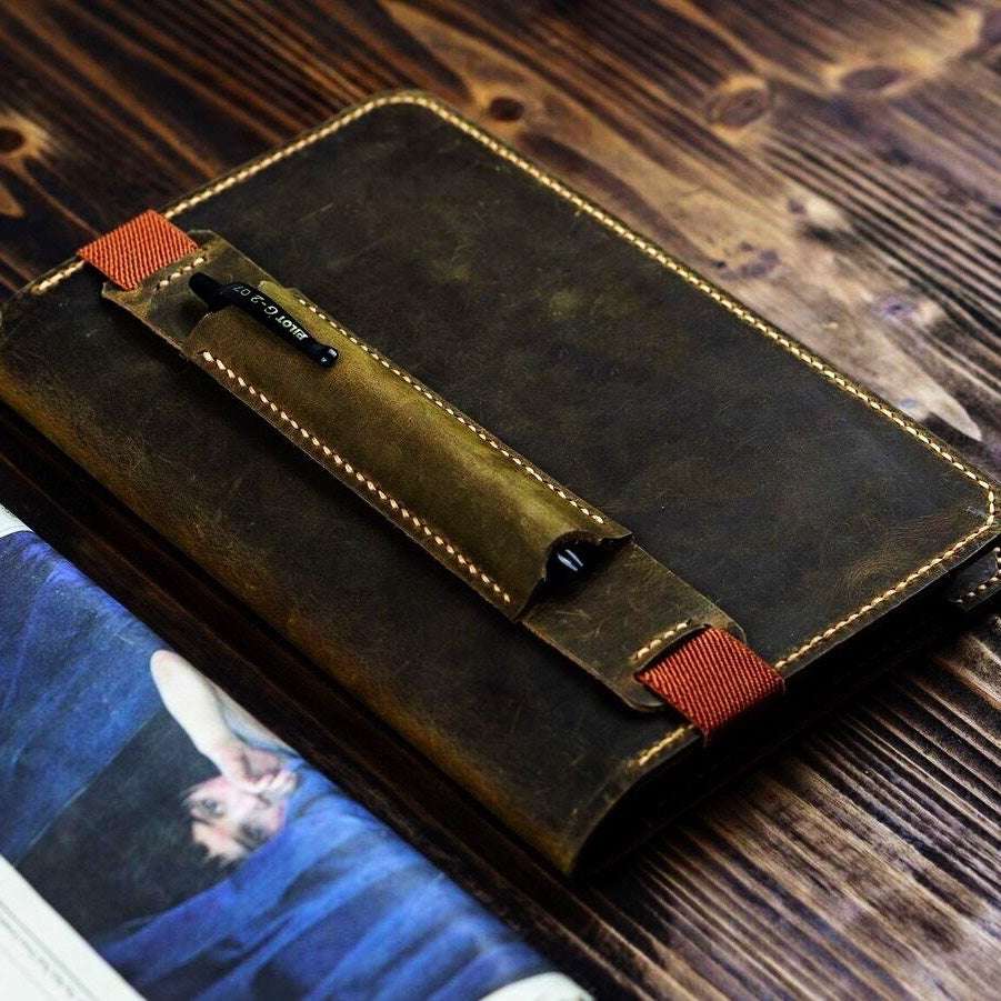 Vintage Style Leather Leuchtturm A5 Journal Cover With Pen Sleeve - Vintage Rebellion