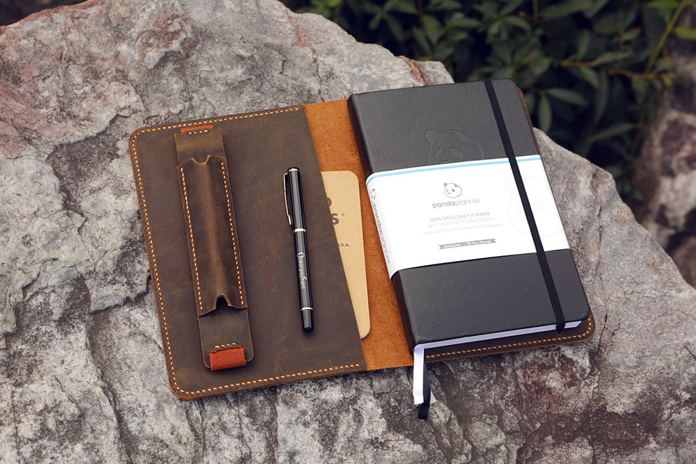 Vintage Style Leather Journal Cover With Pen Sleeve For Panda Planner