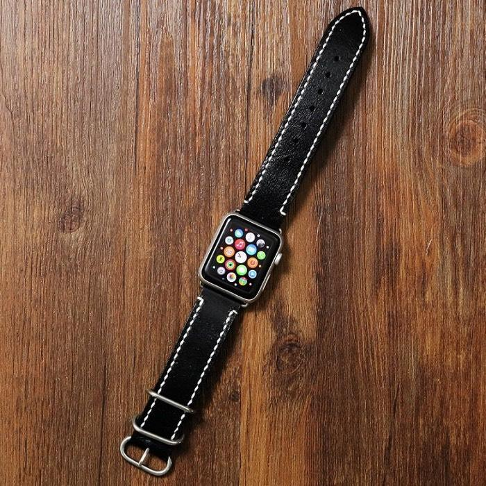 Black Handmade Leather Apple Watch Band - Vintage Rebellion