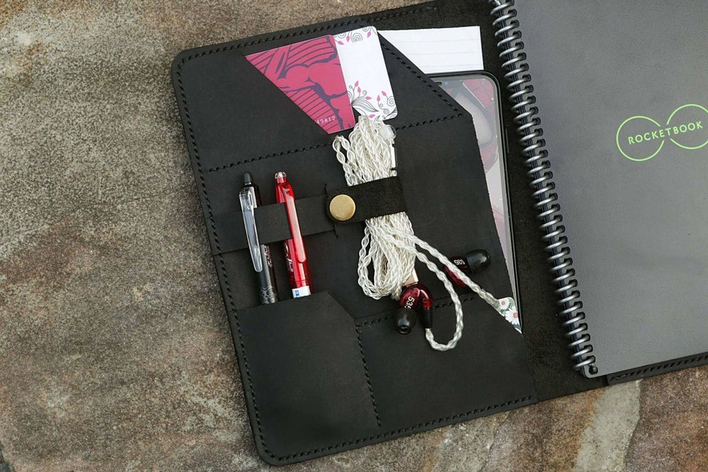 Leather Journal Organizer Cover For Executive Everlast Rocketbook - Vintage Rebellion