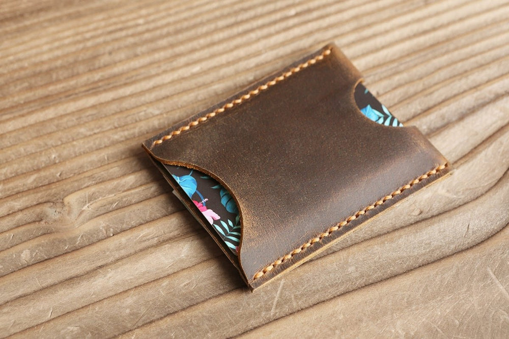 Handmade Distressed Leather Slim Minimalist Card Wallet - Vintage Rebellion