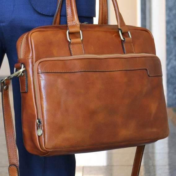 "European Style Italian Leather 14"" Laptop Briefcase - Vintage Rebellion"