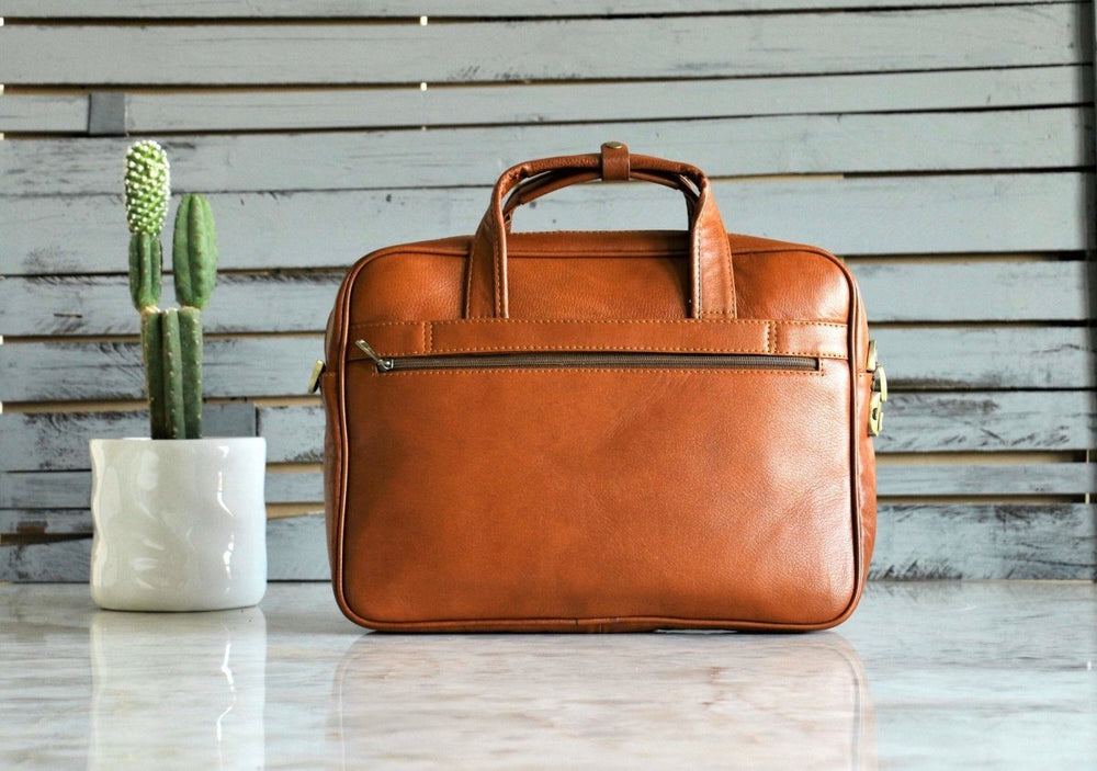 "European Style Tanned Italian Leather 15"" Laptop Briefcase - Vintage Rebellion"
