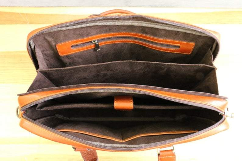 "European Style Tanned Italian Leather Multi Pocket 15"" Laptop Briefcase - Vintage Rebellion"