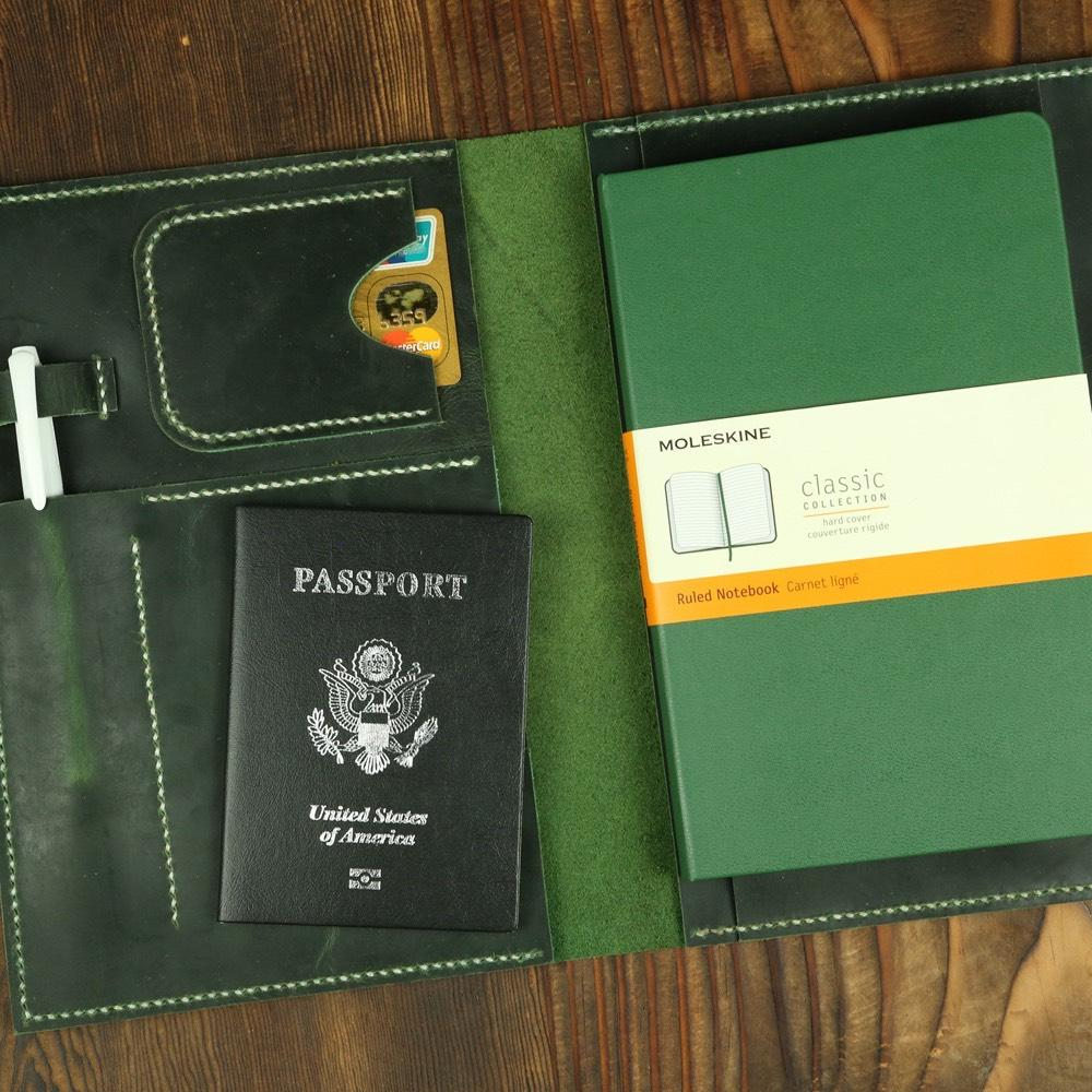 Green Leather Travel Journal Cover For A5 Journals