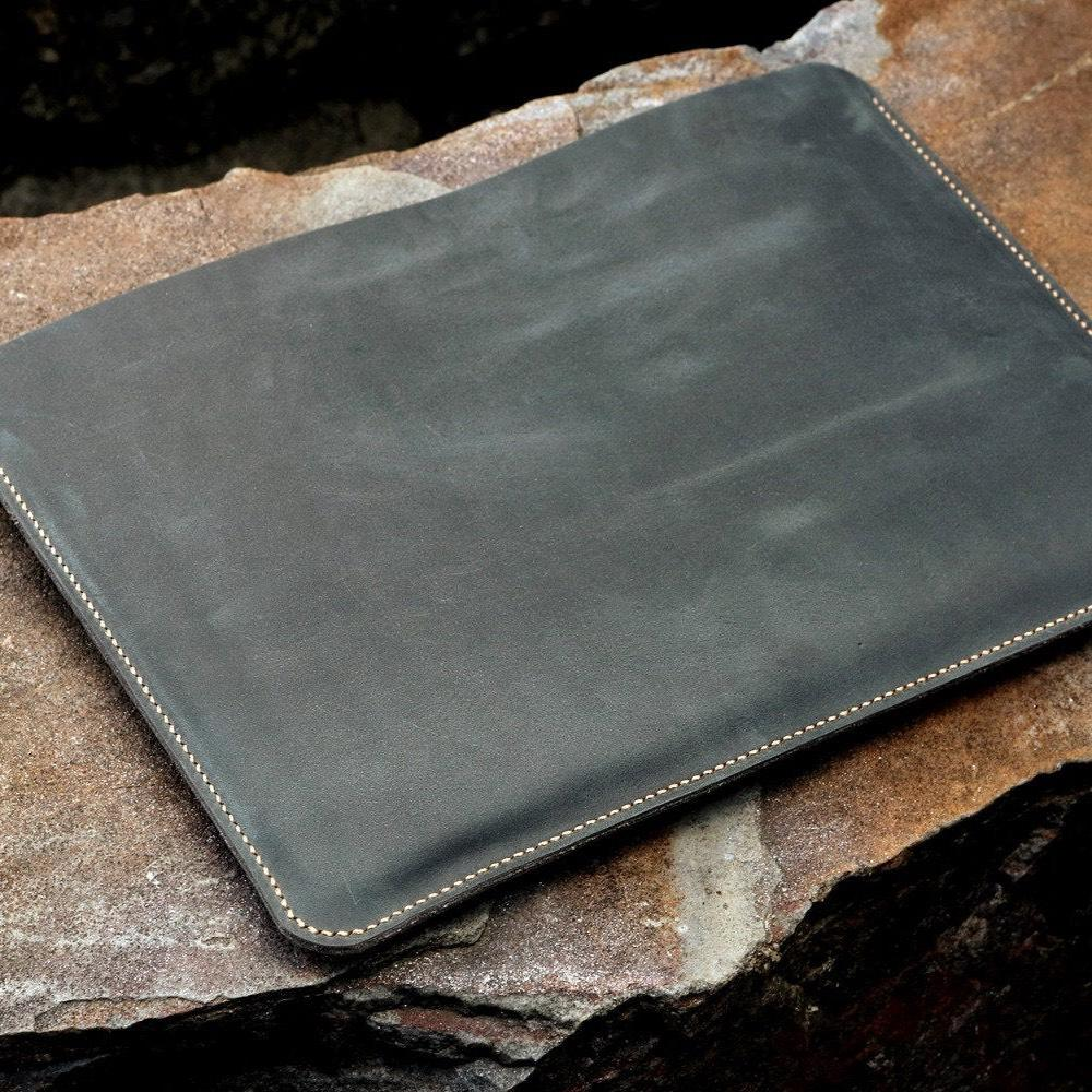 Grey Leather Macbook Pro Sleeve