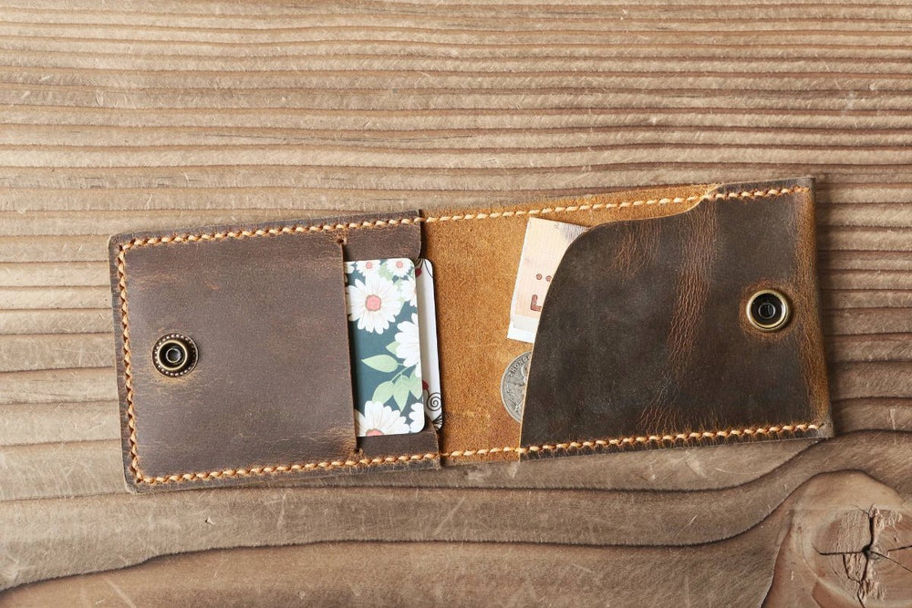 Handmade Distressed Leather Bi-fold Snap Close Wallet - Vintage Rebellion