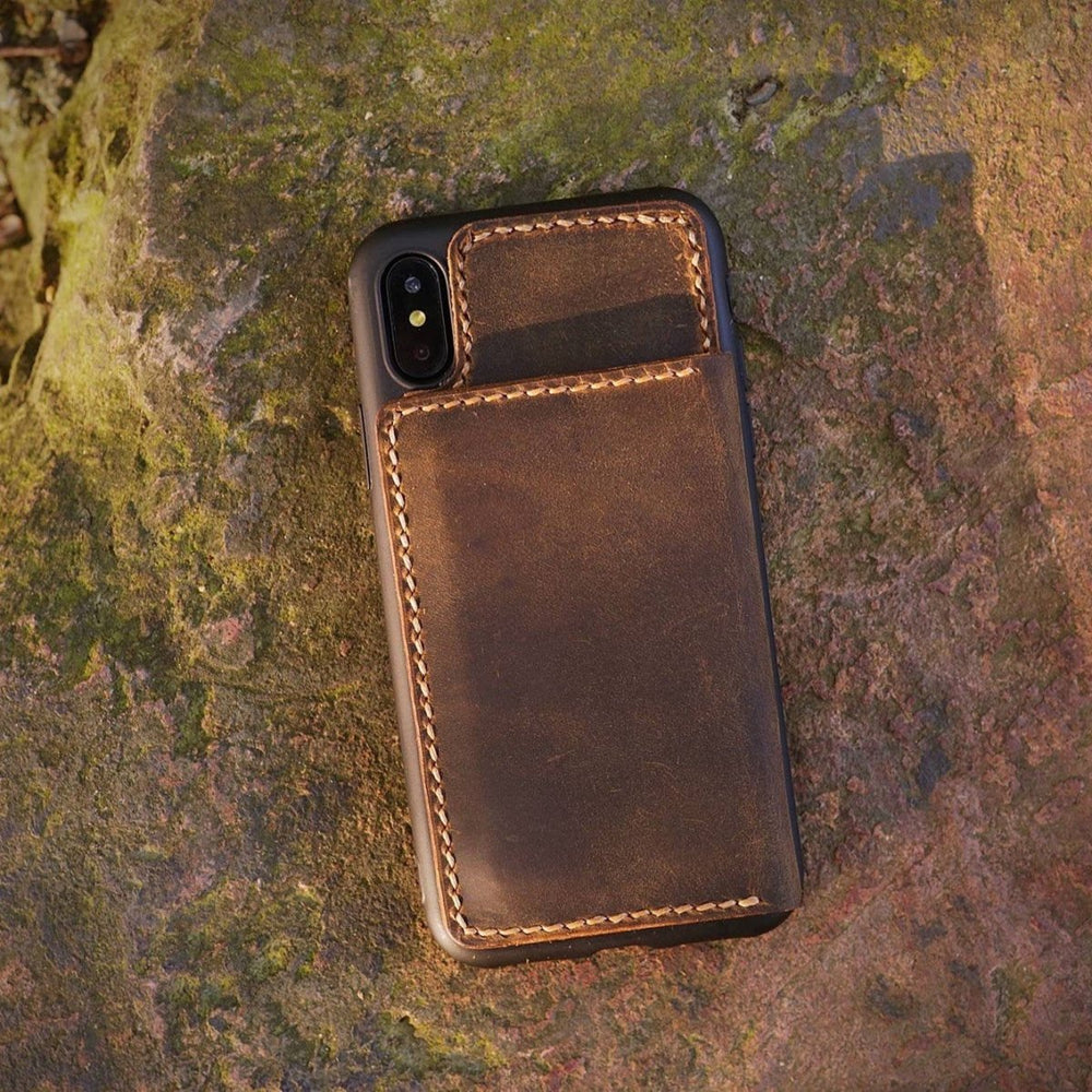 Handmade Distressed Leather Flip Stand iPhone Case