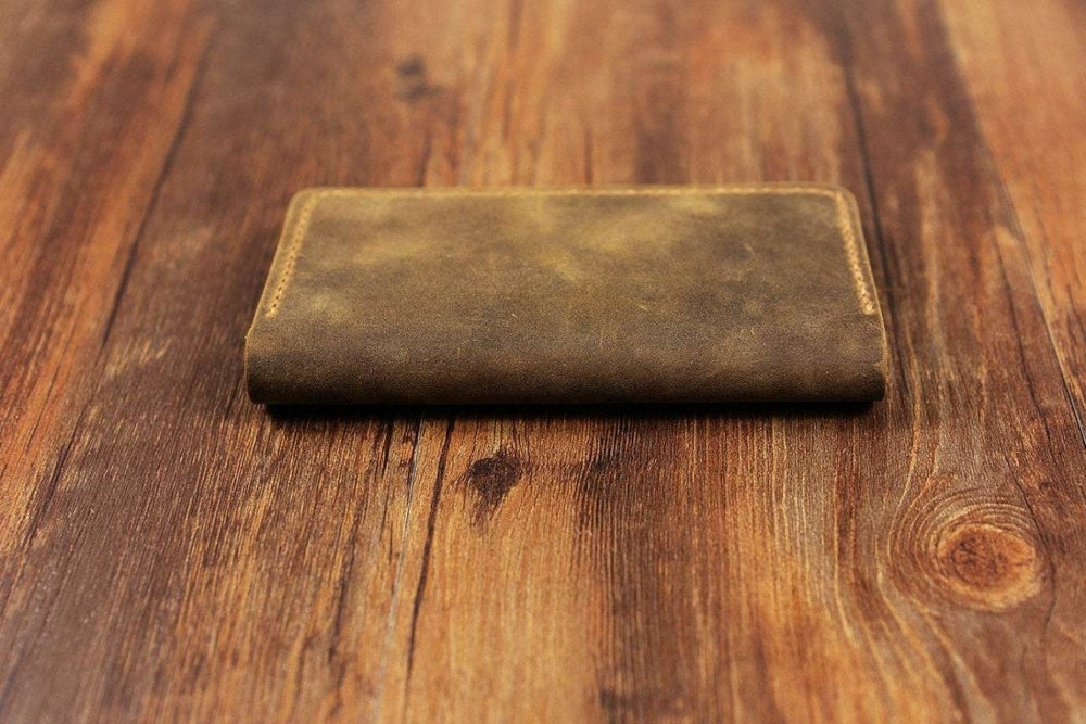 Handmade Distressed Leather iPhone Bi-Fold Wallet Case - Vintage Rebellion